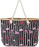 styleBREAKER XXL Strandtasche mit Streifen Flamingo Print und Reißverschluss, Schultertasche, Shopper, Damen 02012252, Farbe:Schwarz-Weiß