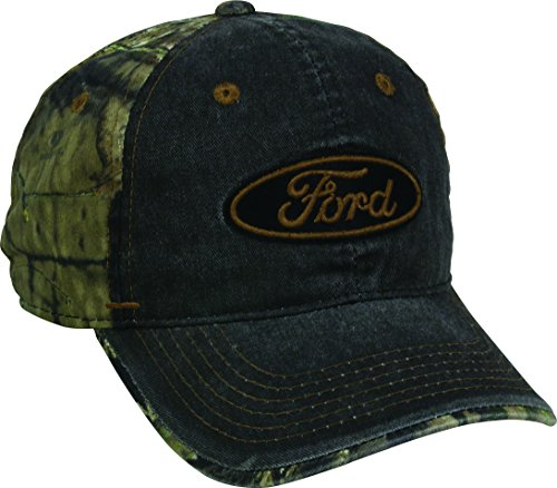 Outdoor Cap Men's Ford Weathered Camo Back Cap, Black/Mossy Oak Country, One Size