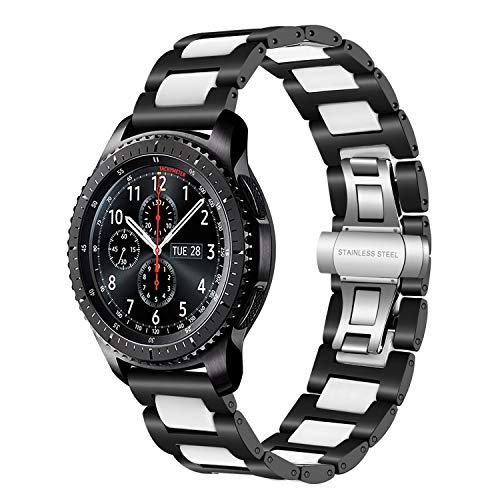 TRUMiRR Gear S3 Cinturino, 22mm Cinturino a sgancio rapido Cinturino in Ceramica e Acciaio Inossidabile per Samsung Gear S3 Classic/Frontier, Moto 360 2 46mm, ASUS ZenWatch 1 2 Men, Pebble Tim