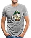 Spreadshirt Mainzelmännchen Conni als Polizist Männer Premium T-Shirt, XL, Grau Meliert