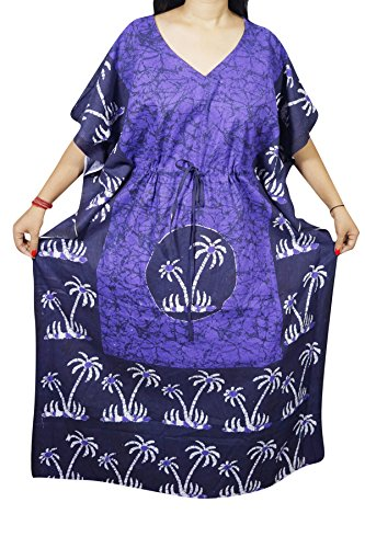INDIATRENDZS WOMEN COTTON BATIK PRINTED NIGHTY PURPLE SLEEPWEAR KAFTAN LOOSE MAXI 60