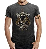 Rockabilly Greaser T-Shirt im Washed Jeans Look: Lucky Bastard 2XL
