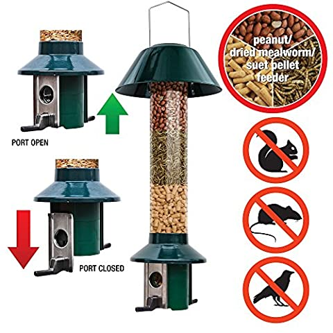 Roamwild PestOff - Squirrel Proof Bird Feeder - Mealworm / Peanut / Suet Pellet Feeder