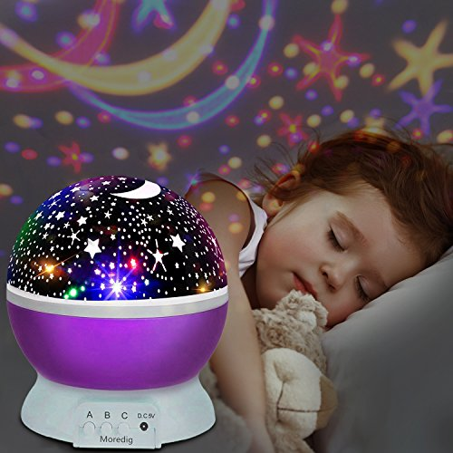 UBEGOOD LED Star Projektor Projektor Lampe 360° Grad Rotation Sternhimmel Projektor 4 LED Lampen 8 Licht Modus Farbwechsel Kinderlampe Nachtlampe Schlafzimmer Nachtlicht für Weihnachten - Lila