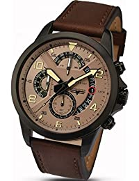 Accurist Men's Quartz Watch with Brown Dial Chronograph Display and Brown Leather Strap 7053.01