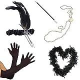 Blue Planet Online - Accesorios para disfraz de charlestón (boa de plumas, cinta para el pelo, collar de perlas, boquilla y guantes), color negro