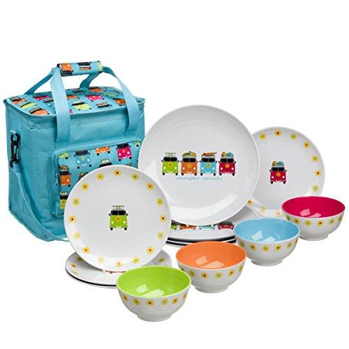 Camping Geschirr aus Melamin 12-teilig für Kinder, mit Kühltasche, Spülmaschinenfest für Picknick, Kratzfest und Bruchsicher, Geschirrset im kinderfreundlichem Design, Kindergeschirr u.Isoliertasche