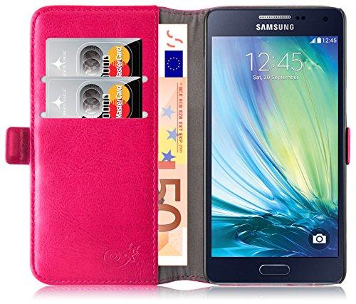 Cover Galaxy A5 (2014), JAMMYLIZARD Custodia Luxury Wallet a Libro in Pelle per Samsung Galaxy A5 (2014), FUCSIA