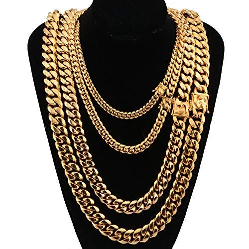 Herren Halskette Edelstahl Gold Halskette Kuba Kette Kette Wasserhahn Halskette Edelstahl Titan Stahl Verschlüsselung Gold,14mm,24INCH