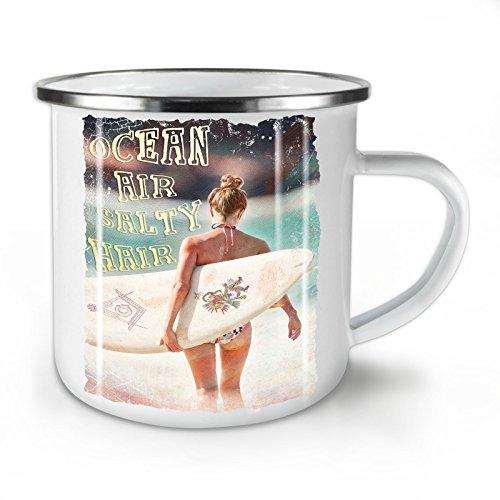 Wellcoda Ozean Meer Mädchen Urlaub Emaille-Becher, Surfen - 10 Unzen-Tasse - Kräftiger, griffiger Griff, Zweiseitiger Druck, Ideal für Camping und Outdoor
