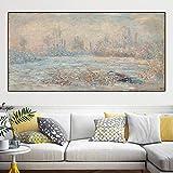 yhyxll Impressione Moderna Claude Monet Stagno di ninfee Paesaggio Dipinti ad Olio Tela Pittura Immagini da Parete per Soggiorno Immagini J 60X120 CM