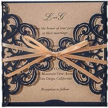 wishmade invitaciones de boda tarjetas cortadas a láser, 50 x rústico azul marino azul invitaciones