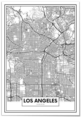 Panorama® Lienzo Mapa Los Ángeles 50 x 70 cm | Impreso