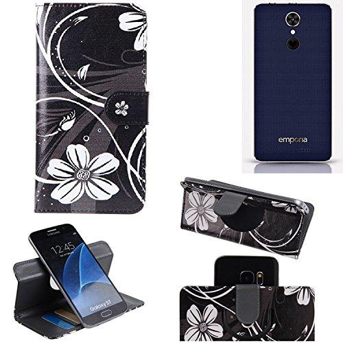 K-S-Trade Schutzhülle für Emporia SMART.2 Hülle 360° Wallet Case Schutz Hülle ''Flowers'' Smartphone Flip Cover Flipstyle Tasche Handyhülle schwarz-weiß 1x