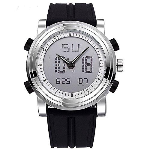 Herren Analog Digital Uhren Schüler Sportuhren Digitaluhr LED Multifunktionsuhr mit Alarm Stoppuhr Silikonarmband Schwarz-Silber