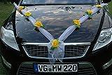 Autoschmuck ORGANZA M Auto Schmuck Braut Paar Rose Deko Dekoration Hochzeit Car Auto Wedding Deko (Gelb/Weiß)