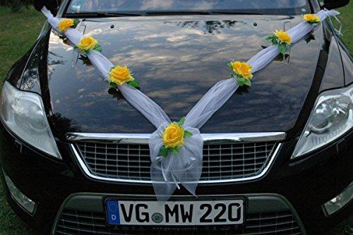 Organza M Auto Schmuck Braut Paar Rose Deko Dekoration Hochzeit Car Auto Wedding Deko (Gelb/Weiß)