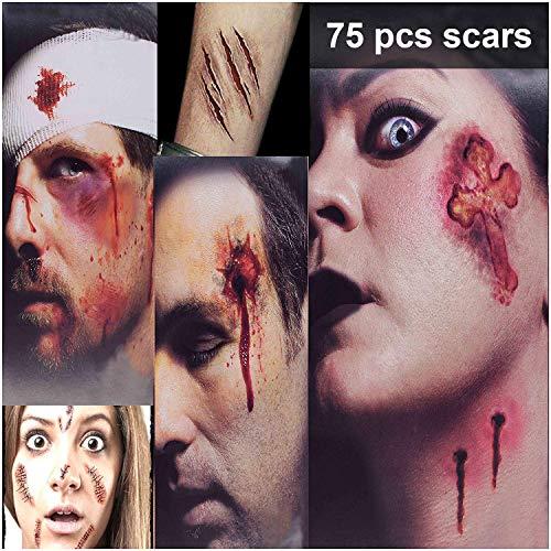 TatuaggiCicatriciHalloween,HalloweenZombieTatuaggi, 3Grandi+6Piccoli Fogli 75 Stili TatuaggiVampiro Adesivi,TatuaggioTemporaneoImpermeabileHorrorRealistico,Trucco HalloweenUomoDonna