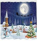 Abakuhaus Weihnachten Duschvorhang, Winterlandschaft, Set inkl.12 Haken aus Stoff Wasserdicht Bakterie und Schimmel Abweichent, 175 x 200 cm, Blau-weiß