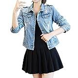 Zolimx Retro Chaquetas Vaquera para Mujer Moda Lentejuelas Abrigo Blazers Coat Outerwear Manga Larga Top Denim Cazadora Corto Jacket Chaqueta Casual Vaquera
