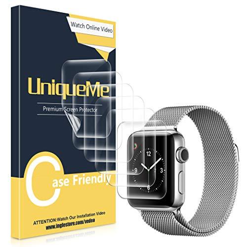 UniqueMe [3 Stück] kompatibel mit Apple Watch 38mm / 40mm schutzfolie, [Wasserfreie Adsorption] [Flexible Folie] Soft HD TPU Clear Anti-Scratch Bildschirmschutzfolie mit lebenslanger Ersatzgarantie