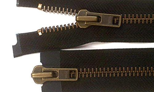 YKK Reißverschluss starker 8 mm 2 Wege teilbar schwarz 65 cm Metall Metallzähne (Reißverschluss-motorrad)