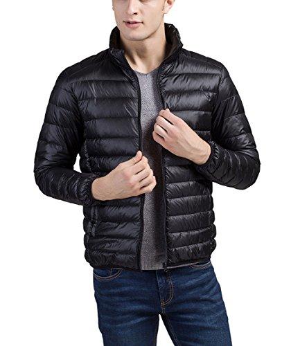 Panegy–Piumino da uomo giacca trapuntata giacca da mezza stagione con colletto–Nero Nero