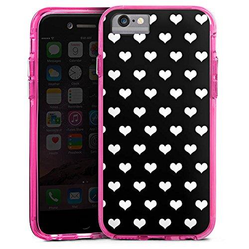 Apple iPhone 8 Bumper Hülle Bumper Case Glitzer Hülle Polka Herzen Pattern Muster Bumper Case transparent pink