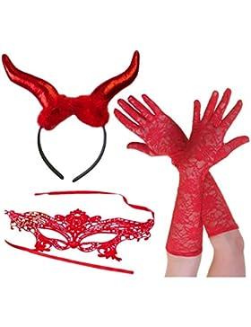 Cuernos Grandes Diablo Rojo + Máscara De Encaje + Guantes De Encaje Largo