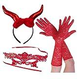 Red Devil Großen Hörner + Spitze Maske + Lange Spitzen Handschuhe Halloween