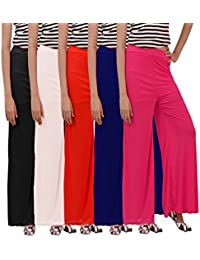 Carrol Women's Palazzo Combo Of 5 (Navy,Red,Black,Pink,White)