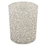 Dadeldo Teelichtglas 2er Set Perlen Design Glas 10x8x8cm Deko Windlicht (Silber)