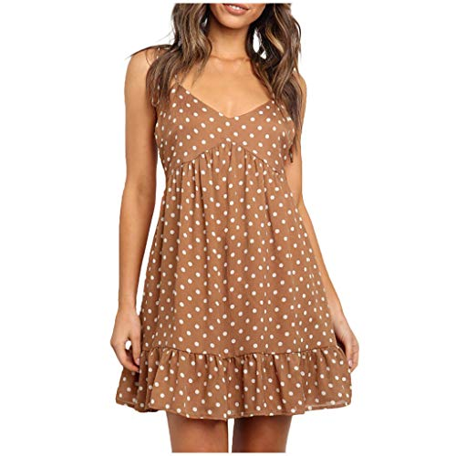 TPulling Damen Kleider Polka Dots Strandkleider  Ärmellos Neckholder Halfter Plissee Kleid Cocktail Party Swing Petticoat Falten Midikleid Plissee Dot