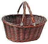 Premium Traditioneller Weidenkorb Einkaufskorb mit klappbare Griffe–Große Vintage braun