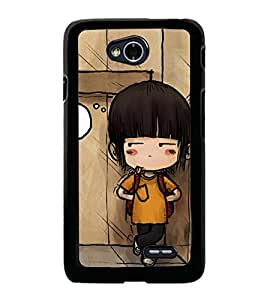 Fuson Premium 2D Back Case Cover Cute baby with bag With blue Background Degined For LG L70