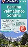 Bernina, Valmalenco, Sondrio: 4in1 Wanderkarte 1:50000 mit Aktiv Guide und Detailkarten inklusive Karte zur offline Verwendung in der KOMPASS-App. ... Skitouren. (KOMPASS-Wanderkarten, Band 93) -