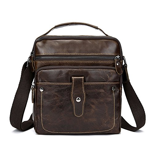 Zicac Herren Leder Messenger Bag Business Casual Schultertasche Herrentasche (Bruan) (Aktentasche Casual Messenger)