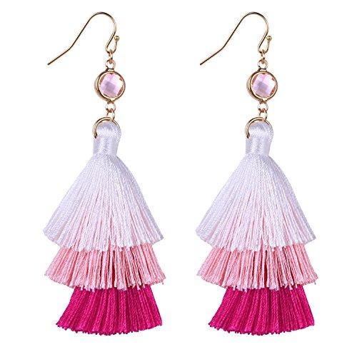 C.QUAN CHI Boho Quaste Einfädler Ohrringe Handgemachte Lange Seide Fringe Ombre Anweisung Ohrringe Schmuck Geschenk für Frauen - Pink Ombre Fringe
