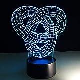 3D Abstrait Anneau Bouton Modélisation Lampe De Table 7 Couleurs Changement Noeud Nuit Lumière USB Sommeil Luminaire Chambre Décor À La Maison Cadeaux