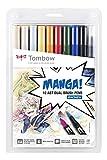 Tombow ABT-10C-MANGA1 Fasermaler, Dual Brush Pen mit zwei Spitzen, 10-er Manga Set Shonen