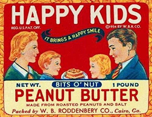 Retrolabel – Happy Kids Bits o Nut Peanut Butter Kunstdruck (27,94 x 35,56 cm) (Peanut Bits Butter)