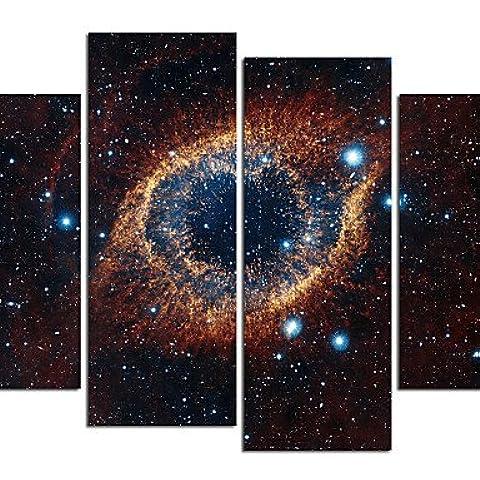 4 Panel de impresión lienzo galaxia estirada lona enmarcado y listo para colgar Arte