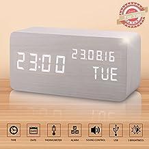 Reloj Digital Despertador Madera de Haya con Control de Sonido y LED Brillo de la Pantalla (Blanco)