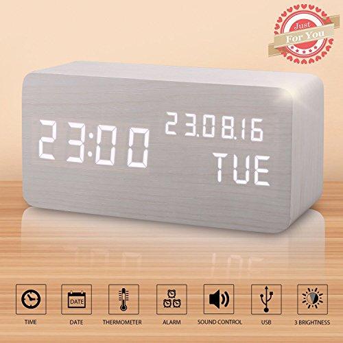 LED Digital Wecker Modern Holz Wecker Tischuhr mit Uhrzeit/Datum/Woche/Temperatur Anzeige,Einstellbare Helligkeit Sound Control-Schreibtisch-Wecker für Heim und Büro (Weiß)