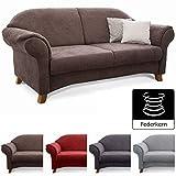 Cavadore 3-Sitzer Sofa Maifayr mit Federkern / Kleine Couch im Landhausstil mit Holzfüßen / 194 x 90 x 90 / Braun