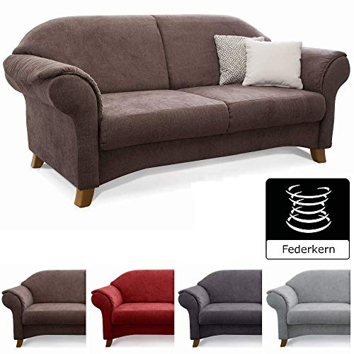 Cavadore 2-Sitzer Sofa Maifayr mit Federkern / Kleine Couch im Landhausstil mit Holzfüßen / 164 x 90 x 90 / Braun (Sofas Und Sofas Mit Sessel)