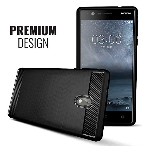 best sneakers 95c54 4aa62 Plus Carbon Fiber Brushed Texture Shockproof Back Case Cover for Nokia 3 -  Midnight Black