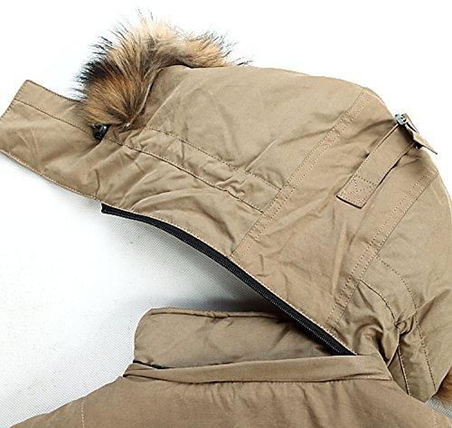 BININBOX® Herren Fashion Daunenmantel Daunenjacke Parka mit abnehmbarer Fellkapuze Wintermantel Khaki
