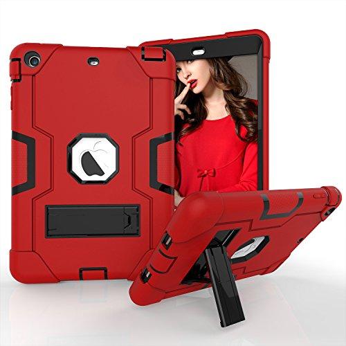 iPad Mini Case, iPad Mini 2Case, iPad Mini 3, beimu 3in1Hybrid, Defender Robuste Hülle Silikon Hard Case Full Body Schutzhülle mit Ständer für Apple iPad Mini 1/2/3, Rot/Schwarz - Ipad Commuter Mini