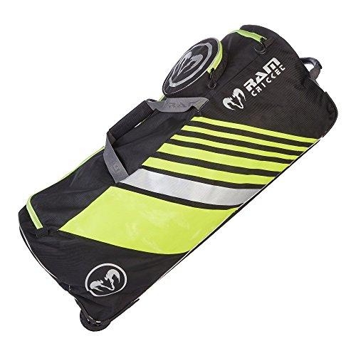 Club bolsa de reproductores–negro/plateado/fluoro amarillo–gran capacidad bolsa de deporte–disponible en tamaños de Senior y Junior–Ram Cricket, L